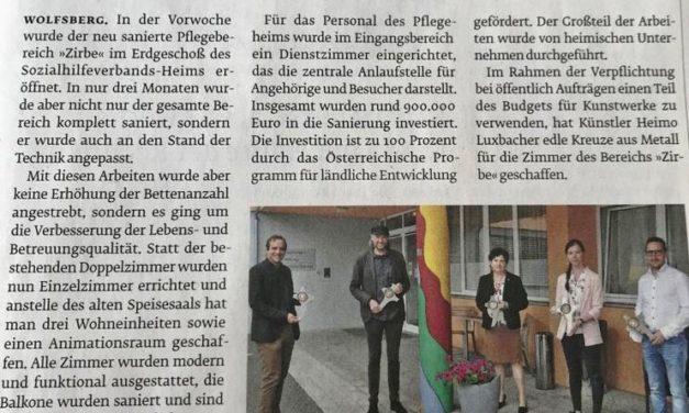 """Feierliche Eröffnung des neu sanierten Pflegebereiches """"Zirbe"""""""